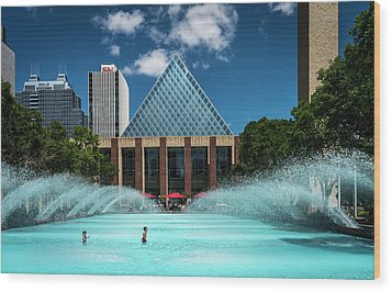 Wood Print featuring the photograph Summer Splash Downtown Edmonton by Darcy Michaelchuk