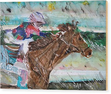 Summer Squall Horse Racing Wood Print by Mindy Newman