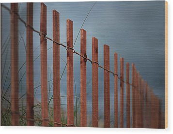 Wood Print featuring the photograph Summer Storm Beach Fence by Laura Fasulo