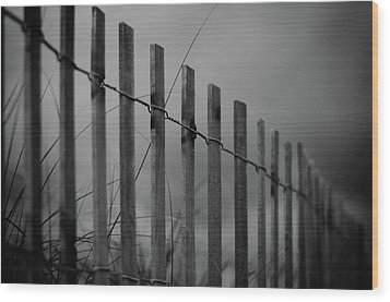 Wood Print featuring the photograph Summer Storm Beach Fence Mono by Laura Fasulo