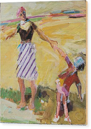 Wood Print featuring the painting Summer Sun  Mother And Child by Diane Ursin