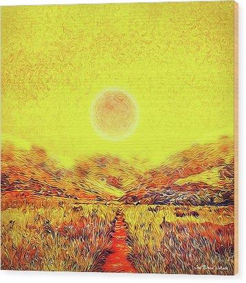 Wood Print featuring the digital art Summer Sunset Field - Trail In Marin California by Joel Bruce Wallach
