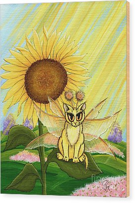 Summer Sunshine Fairy Cat Wood Print by Carrie Hawks
