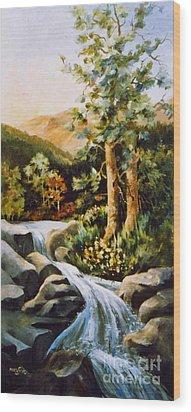 Summer Waterfall Wood Print by Marta Styk