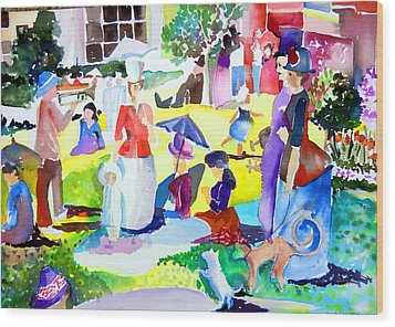 Summer With In The Park With George Wood Print by Mindy Newman