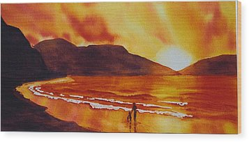 Summers-sunset Wood Print by Nancy Newman