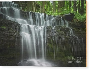 Summertime At Gunn Brook Falls Wood Print