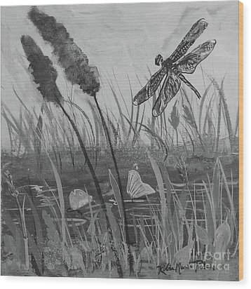 Wood Print featuring the painting Summertime Dragonfly Black And White by Robin Maria Pedrero