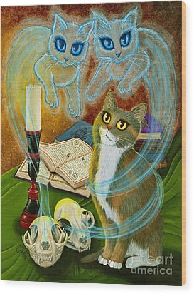 Wood Print featuring the painting Summoning Old Friends - Ghost Cats Magic by Carrie Hawks