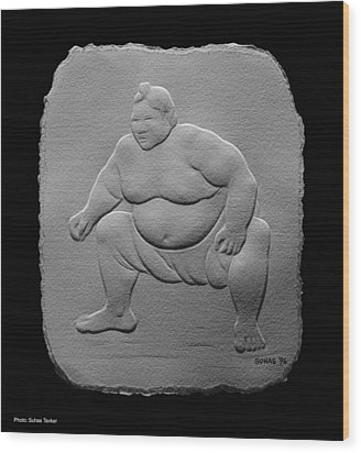 Wood Print featuring the relief Sumo by Suhas Tavkar