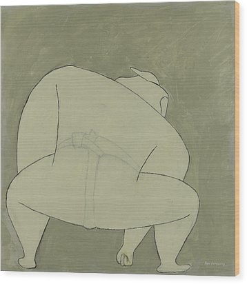 Wood Print featuring the painting Sumo Wrestler by Ben Gertsberg
