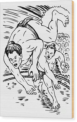 Sumo Wrestlers Wood Print by Aloysius Patrimonio