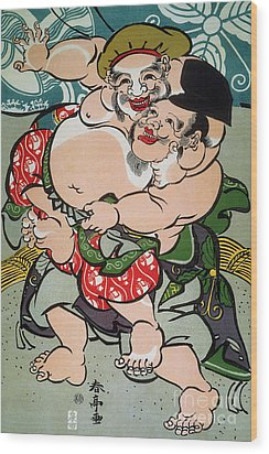 Sumo Wrestling Wood Print by Granger