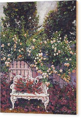 Sumptous Cascading Roses Wood Print by David Lloyd Glover