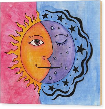 Sun And Moon Wood Print by Jessica Kauffman