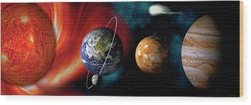 Sun And Planets Wood Print by Panoramic Images