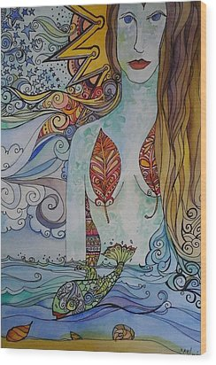 Sun And Sea Godess Wood Print