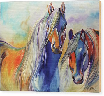 Sun And Shadow Equine Abstract Wood Print by Marcia Baldwin