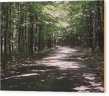 Wood Print featuring the photograph Sun And Shadow Road In Summer  C3pdl by Lyle Crump