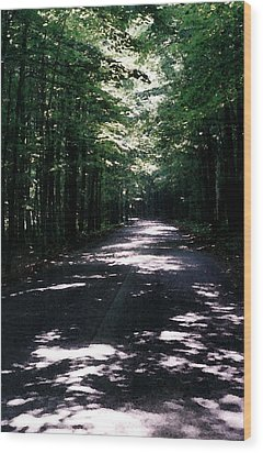Wood Print featuring the photograph Sun And Shadow Road In Summer Imp Wc by Lyle Crump