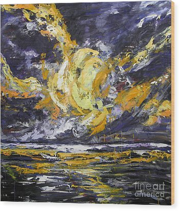 Wood Print featuring the painting Sun And Sky by Debora Cardaci