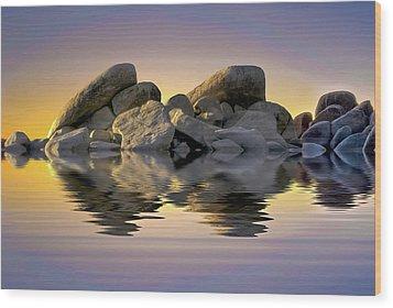 Sun Bathed Rocks Wood Print