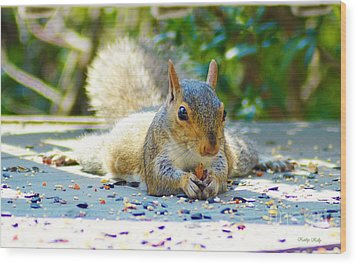 Sun Bathing Squirrel Wood Print