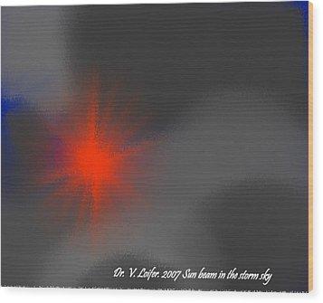 Sun Beam In The Storm Sky Wood Print by Dr Loifer Vladimir