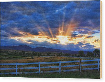 Sun Beams In The Sky At Sunset Wood Print by James BO  Insogna