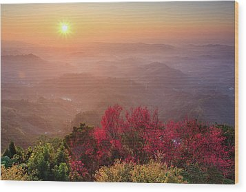 Sun Burst, Cherry Blossoms And Mountain Layers Wood Print by Samyaoo