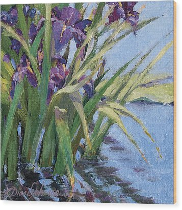 Sun Day - Iris In A Pond Wood Print by L Diane Johnson