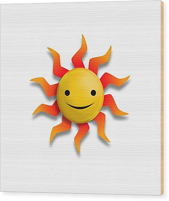 Wood Print featuring the digital art Sun Face No Background by John Wills