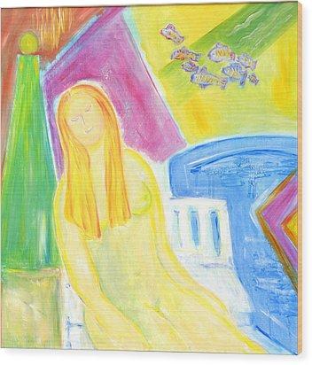 Sun Goddess Wood Print by Barbara Anna Knauf