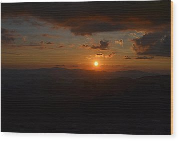 Sun Going Down Over The Great Smoky Mountains Wood Print
