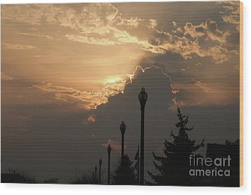 Sun In A Cloud Of Glory Wood Print by Andee Design