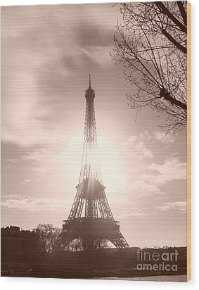Sun In Paris Wood Print