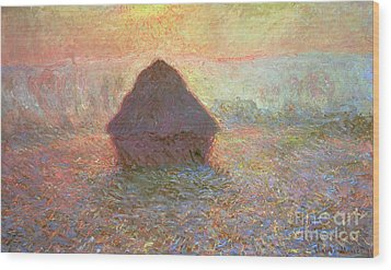 Sun In The Mist Wood Print by Claude Monet