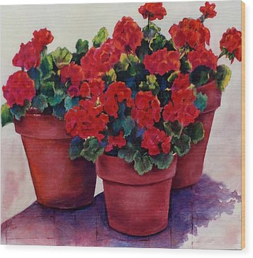 Wood Print featuring the painting Sun-kissed Geraniums by Ann Peck