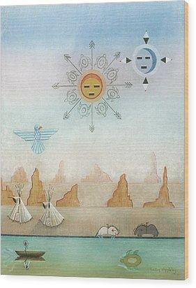 Sun Moon And Turtles Wood Print by Sally Appleby