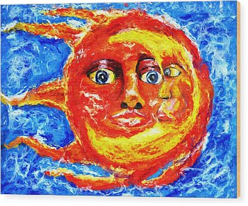 Wood Print featuring the painting Sun Moon by Shelley Bain