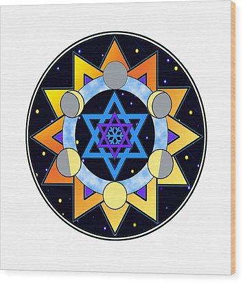 Sun, Moon, Stars Wood Print