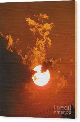 Sun On Fire Wood Print