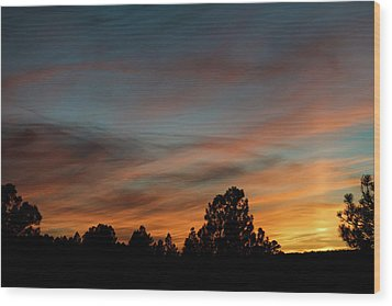 Sun Pillar Sunset Wood Print