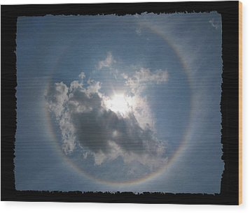 Sun Portal  A Rainbow Around The Sun With Black Border Wood Print by Adam Long