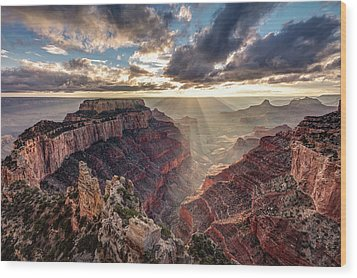 Wood Print featuring the photograph Sun Rays At Cape Royal by Pierre Leclerc Photography
