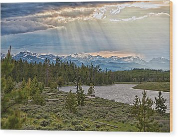 Sun Rays Filtering Through Clouds Wood Print by Trina Dopp Photography