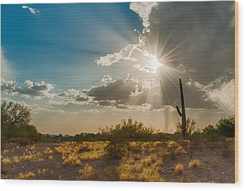 Wood Print featuring the photograph Sun Rays In Tucson by Dan McManus