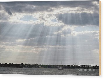 Sun Rays Over Lagoon Wood Print