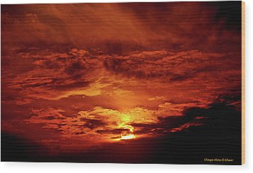 Sun Set II Wood Print by Chaza Abou El Khair
