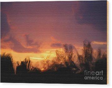 Sun Set Wood Print by Jan Daniels